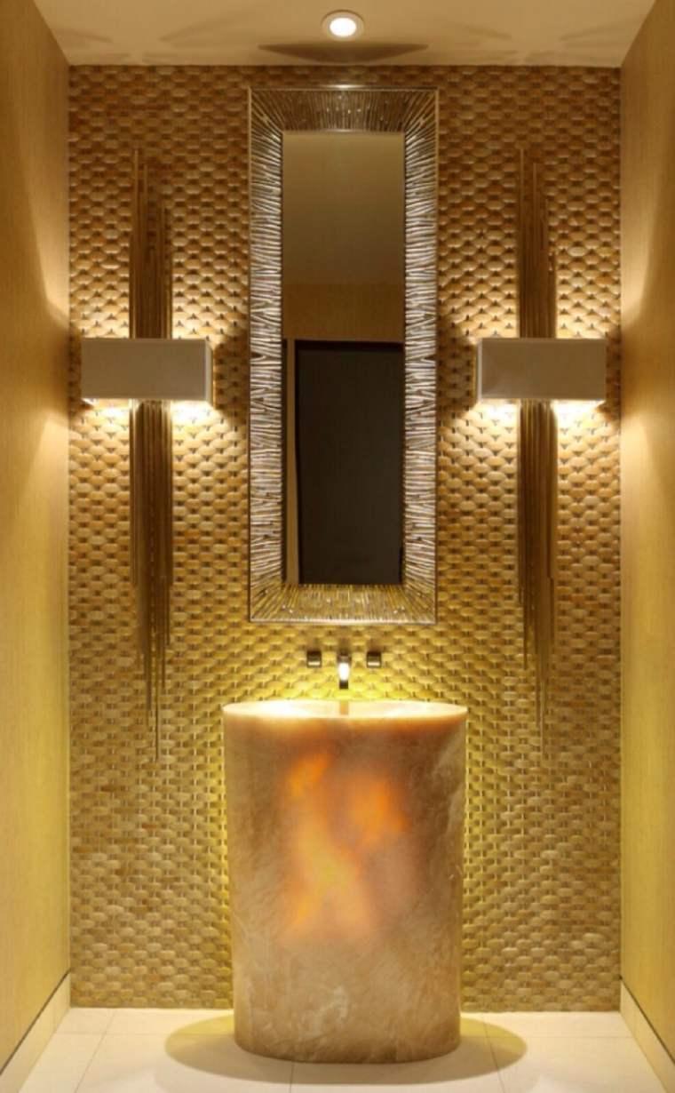 onix piedra diseno interiores lavabo pared mosaico bano ideas