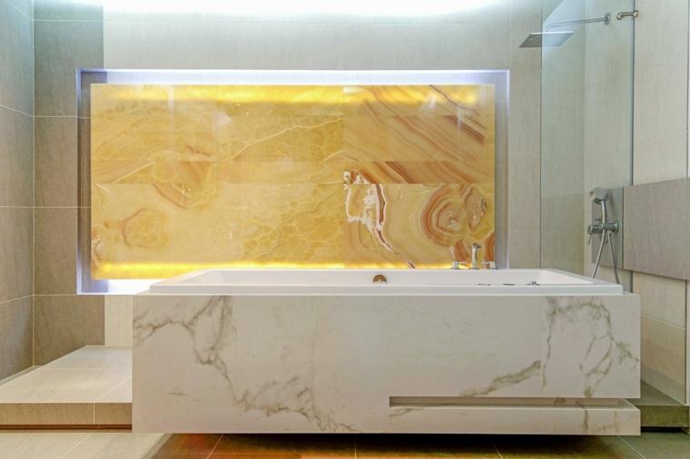 onix piedra pared bano diseno interiores banera marmol ideas