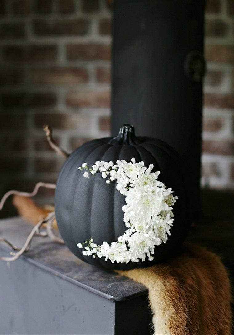original diseno calabaza negra flores