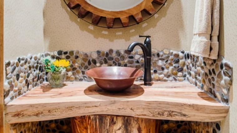 Cuarto de baño de madera y piedra - 42 diseños -