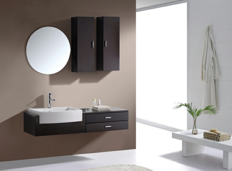 Original diseño de mueble lavabo flotante de estilo minimalista
