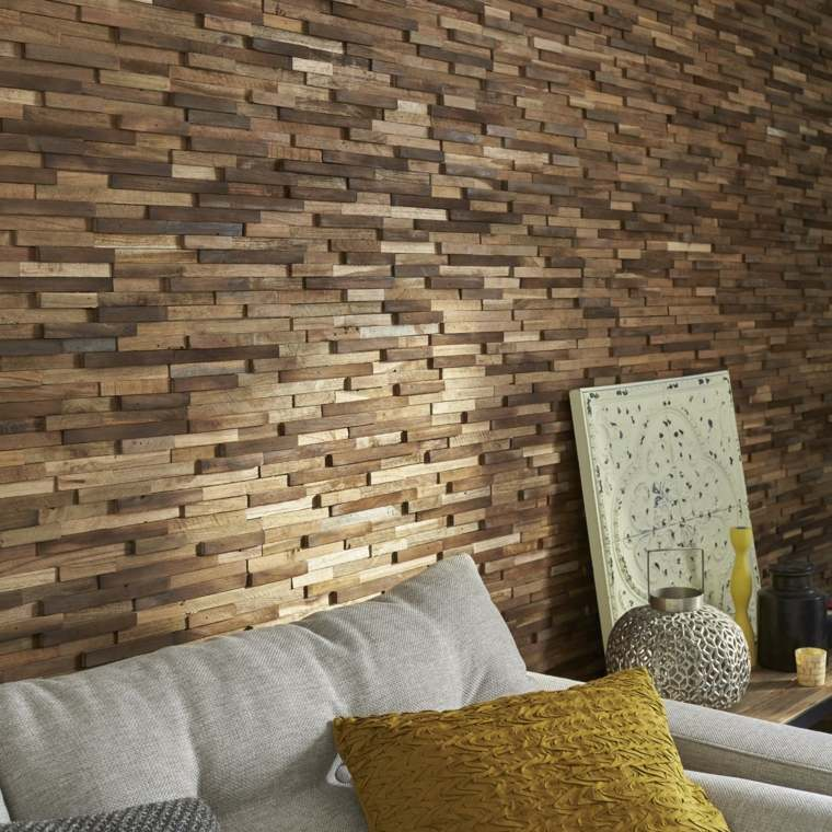 original pared bloques madera