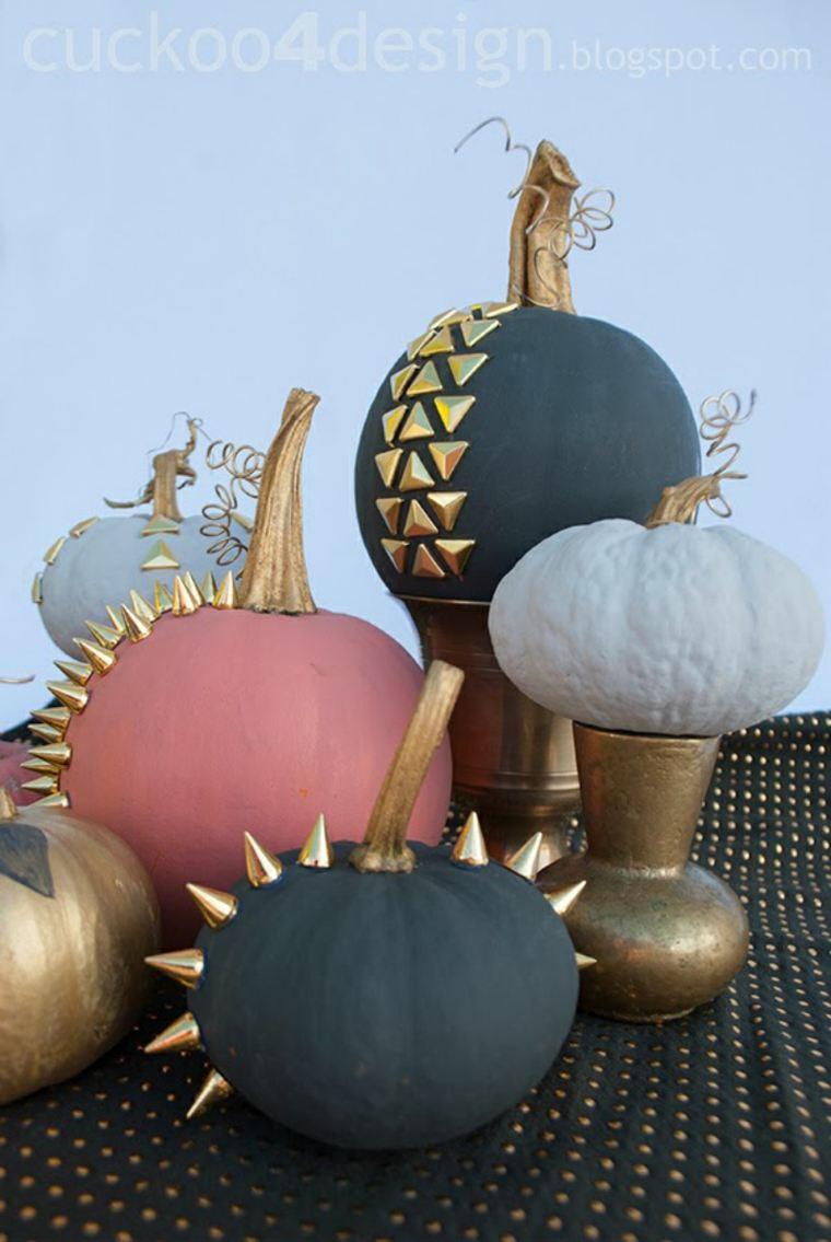 originales calabazas decoradas pinchos pegados