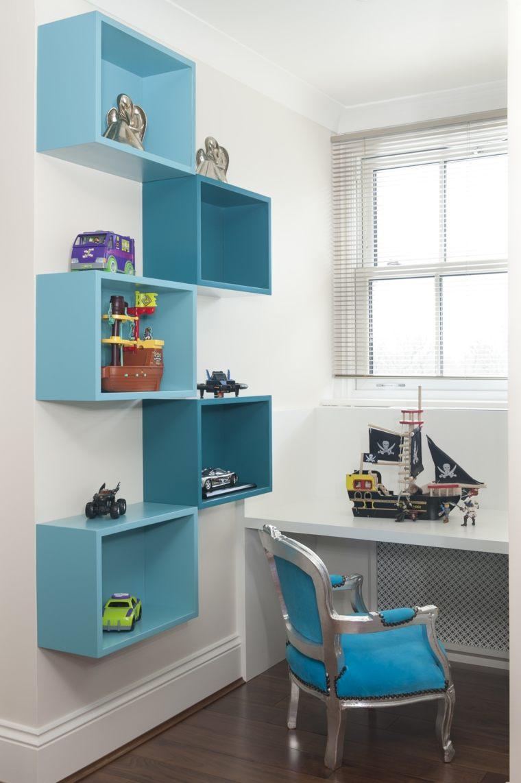 originales estantes cajas azules