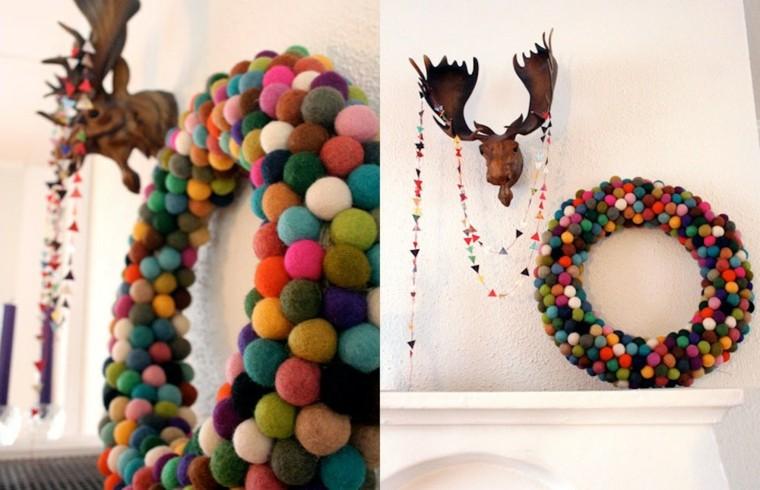 originales coronas pompones deco navidad