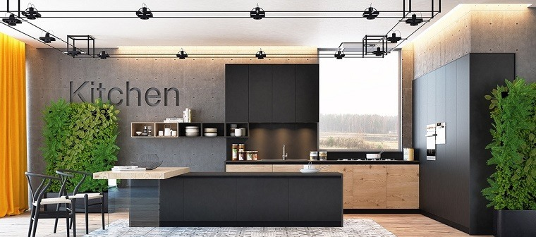 paneles cocina piedra muebles negros diseno ideas