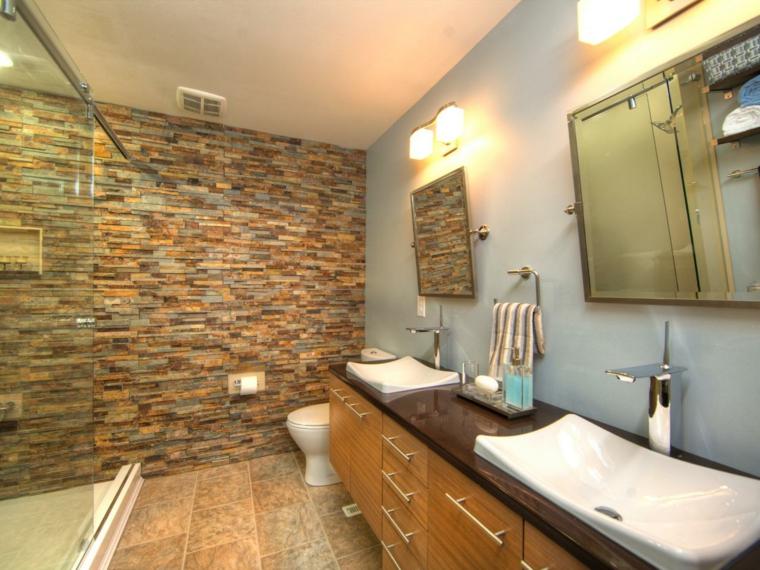 Baño Rustico Con Piedra:Bonito diseño de cuarto de baño moderno con pared de piedra