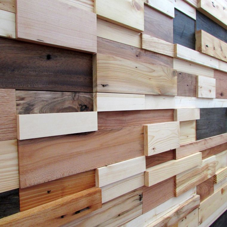pared distintos tipos bloques madera