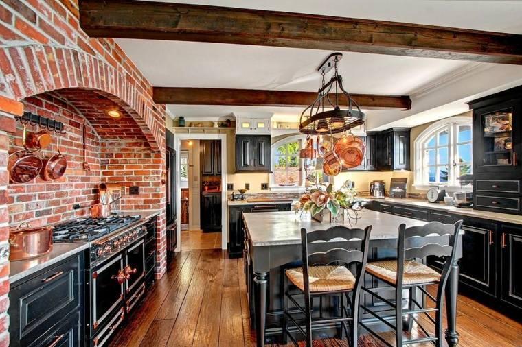 Cocinas r sticas los mejores ejemplos del estilo - Cocina de ladrillo ...