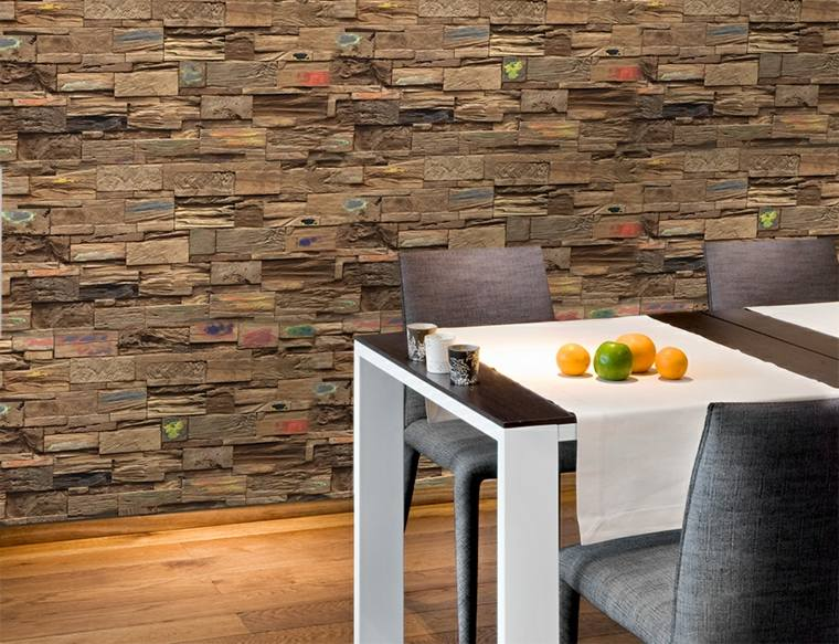 pared madera originales relieves colores