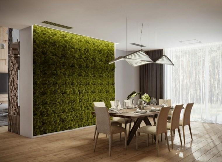 pared verde acentos naturales muros