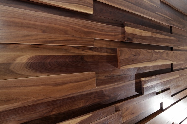 Paredes de madera con relieves y acentos en 3d - Revestimiento de paredes madera ...