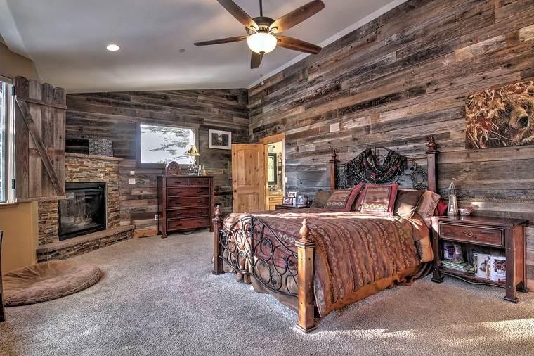 paredes madera cama dormitorio diseno rustico ideas