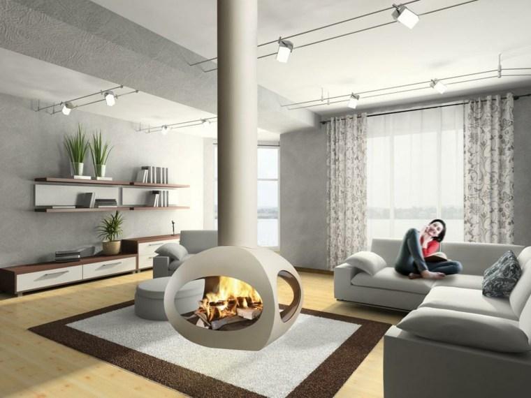 piso reformado chimenea