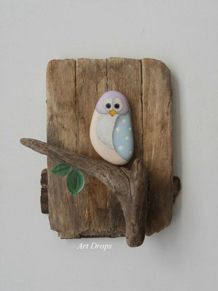 proyectos diy rocas maderas aves