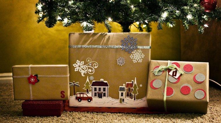 regalos navideños envoltura dorada