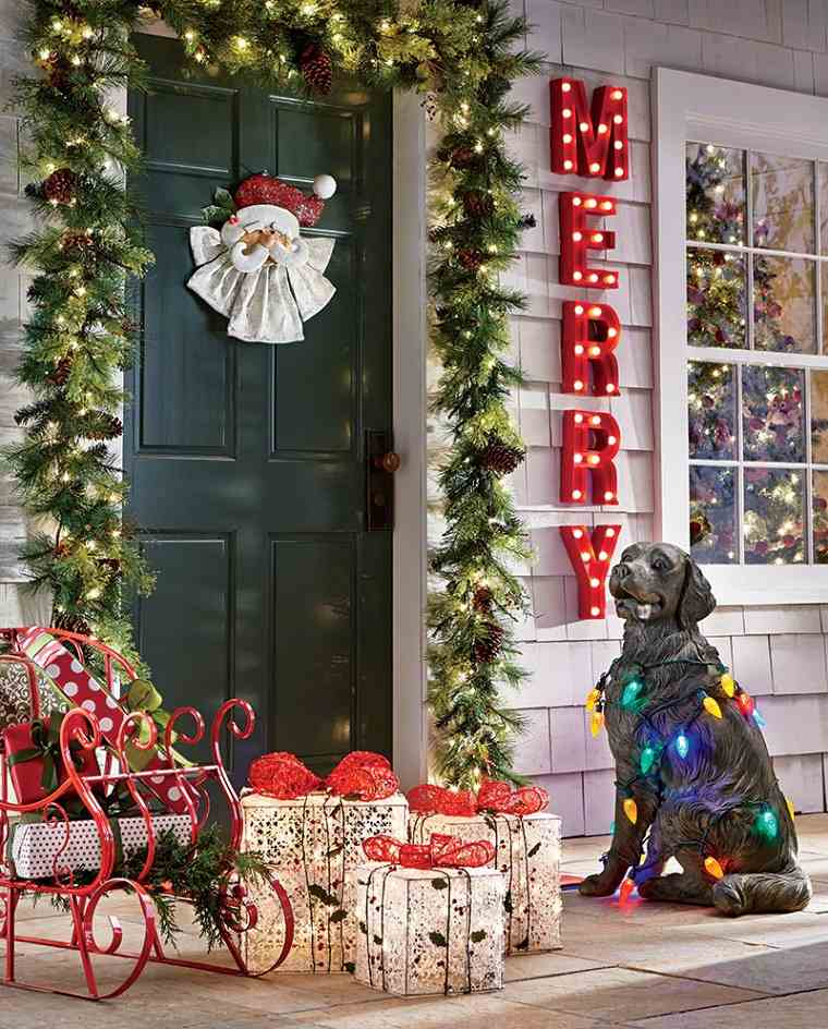 regalos puerta decorar entrada guirnalda ideas