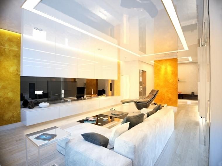 salon blanco pared piedra onix ideas