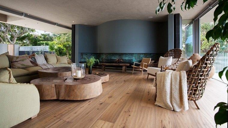 salon diseno espectacular mesas madera originales ideas