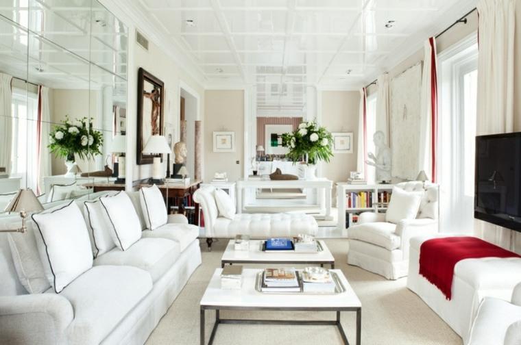 salon elegante muebles blancos