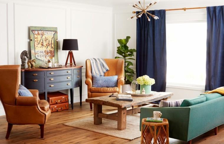 salón moderno cortinas azules
