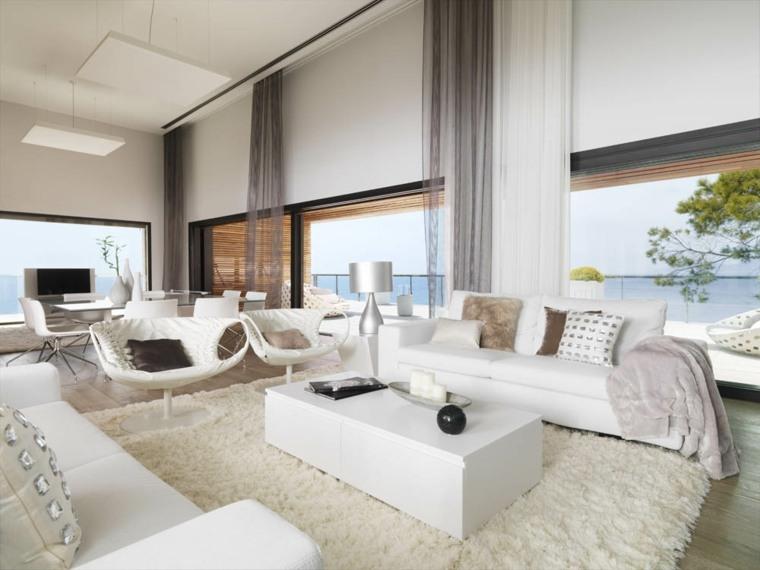diseño salón moderno muebles blancos