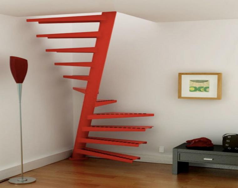 escaleras caracol color rojo
