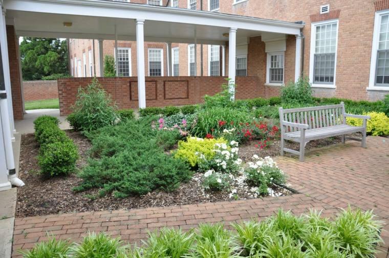 sendero jardin clasico banco madera ideas