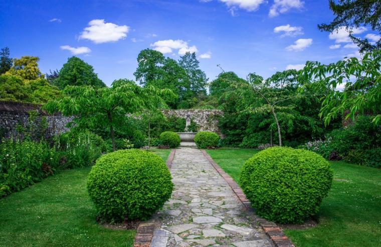 sendero jardin diseno exelente cesped plantas ideas