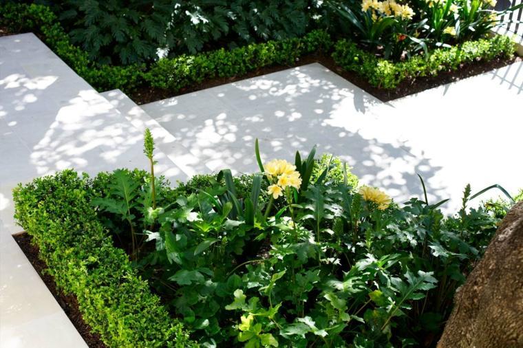 sendero jardin losas modernas blancas ideas