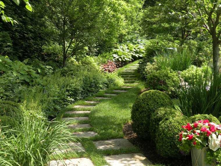 sendero jardin losas pasos plantas ceped ideas