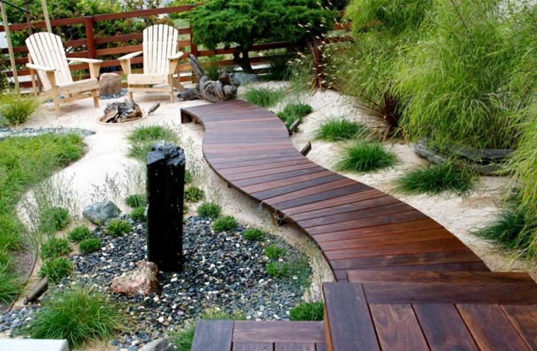 sendero jardin madera brillantes opciones ideas