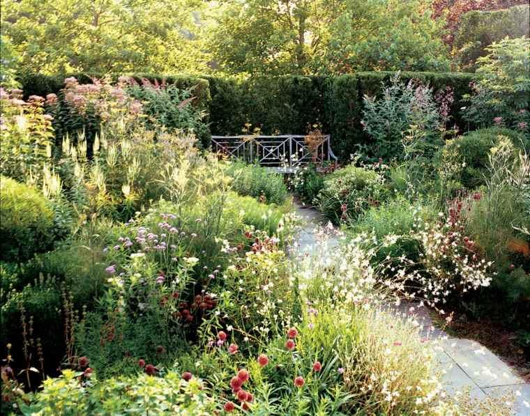 sendero jardin plantas naturales camino losas ideas