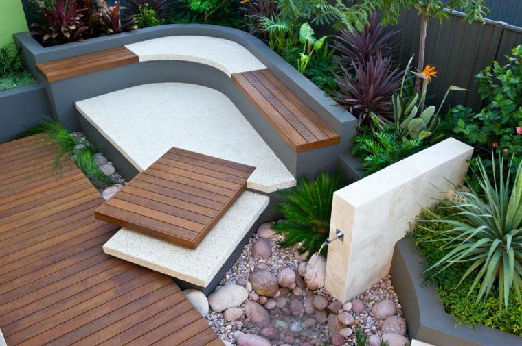 senderos jardin urbano camino madera ideas