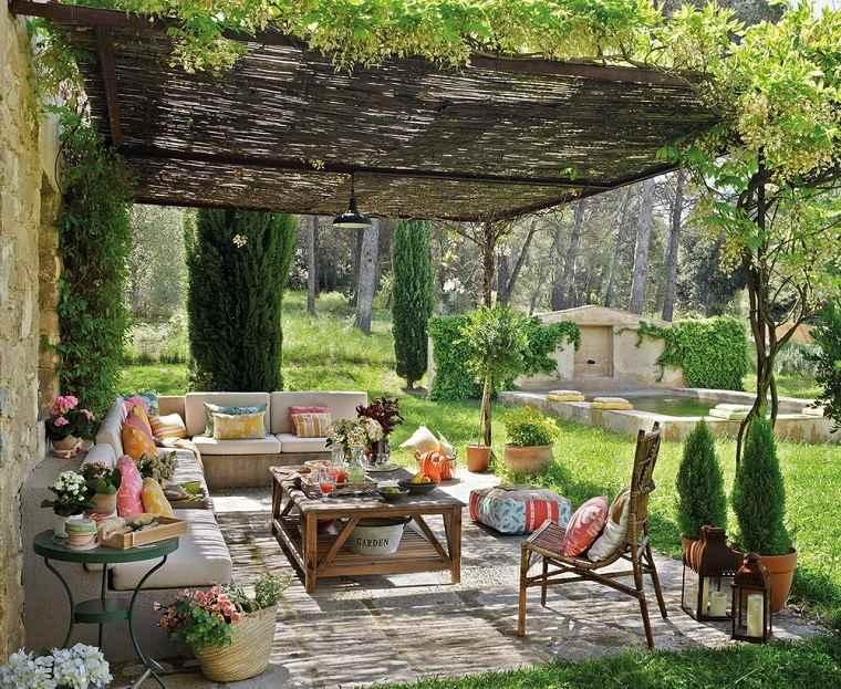 sofas hormigon pergola jardin diseno precioso ideas