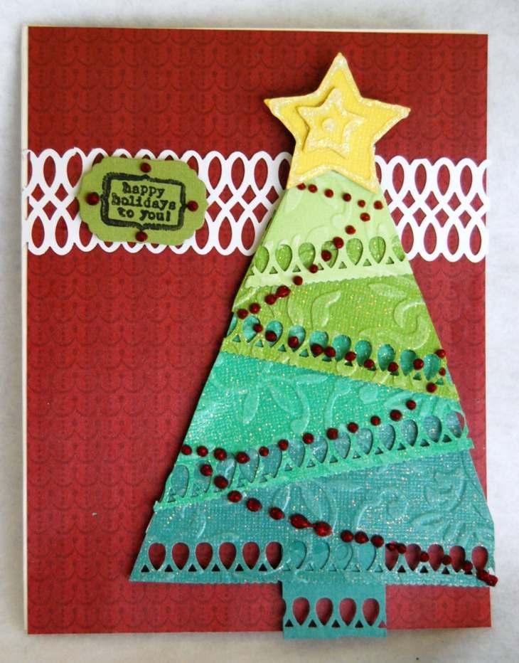 tarjeta arbol navidad precioso diy ideas