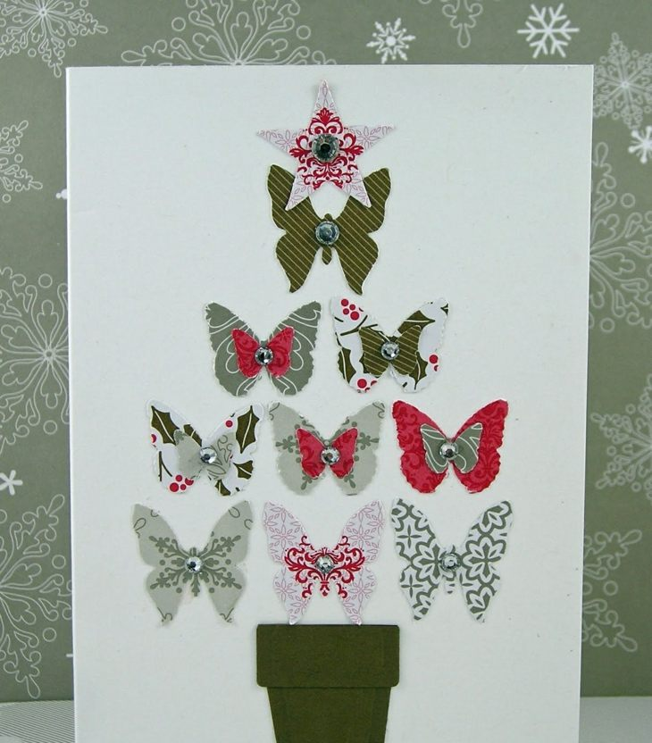 tarjetas de navidad originales diy arbol navidad mariposas ideas