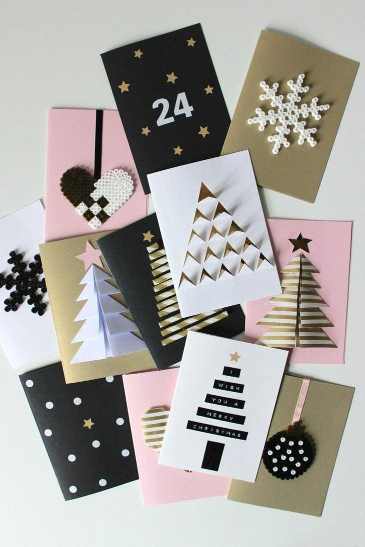 tarjetas de navidad originales diy casa blanco negro ideas