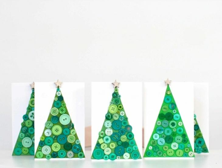 tarjetas de navidad originales arbol navideno botones ideas