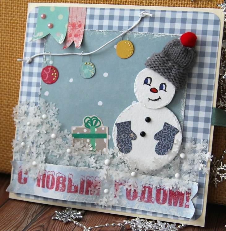 tarjetas de navidad originales diy casa muneco nieve