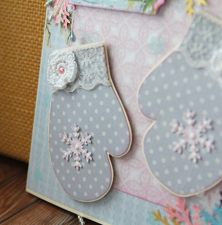 tarjetas de navidad originales guantes coloridos ideas