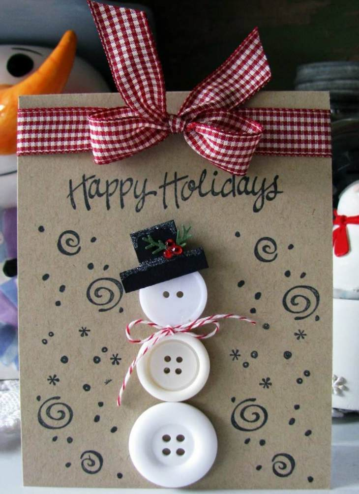 tarjetas de navidad originales muneco nieve botones ideas