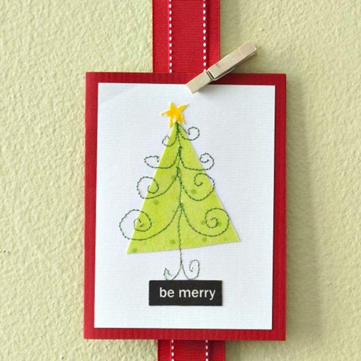 tarjetas de navidad originales rojo blanco arbol ideas