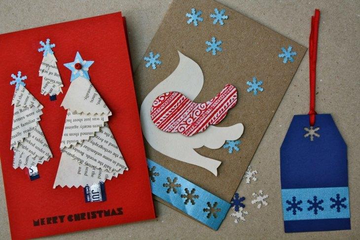 tarjetas navidad arbol navidad paloma periodico diy ideas