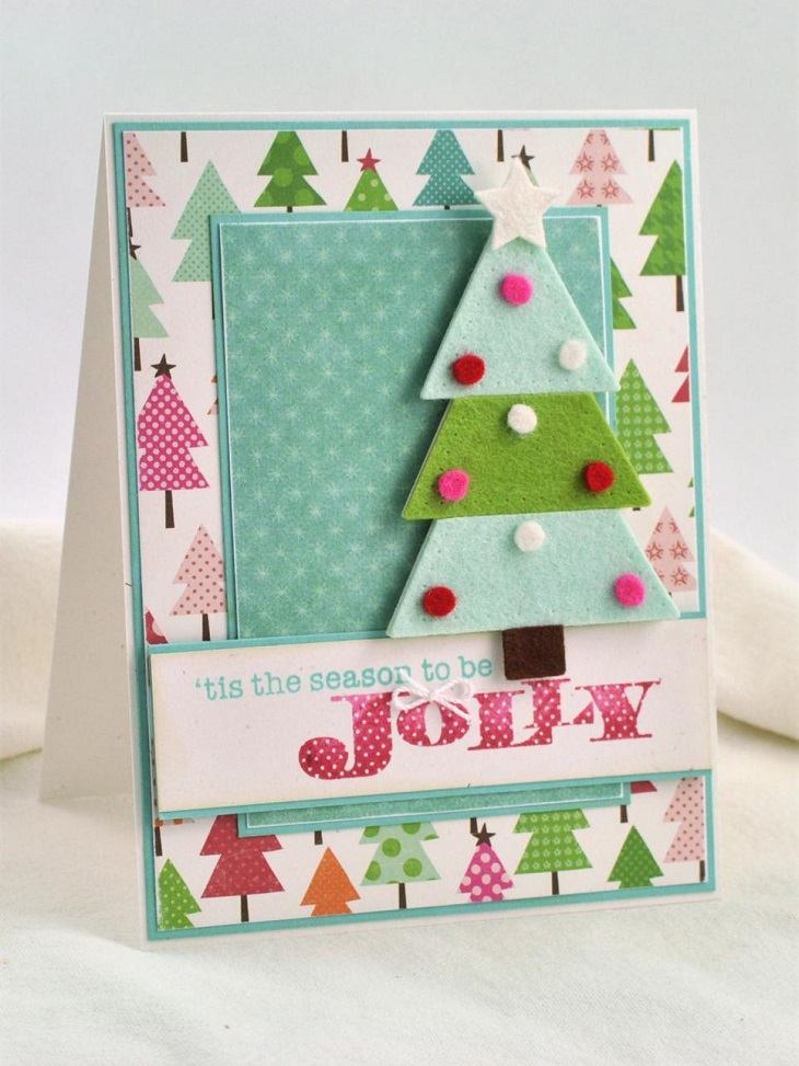 tarjetas navidad arbol navidad tela ideas