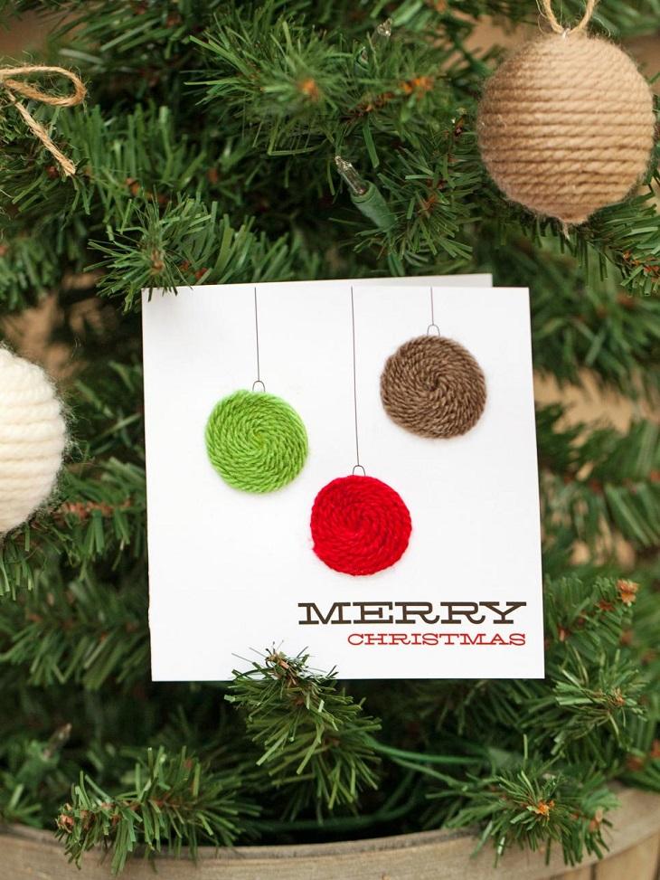 tarjetas navidad bola lana distintos colores ideas