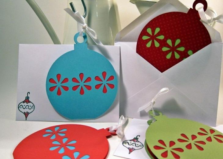 tarjetas navidad forma bolas navidad arbol colores udeas