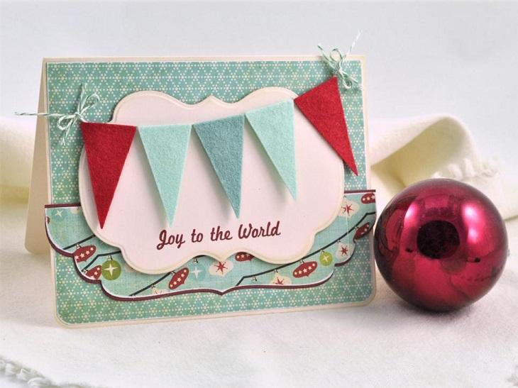 tarjetas navidad guirnalda tela bonita ideas
