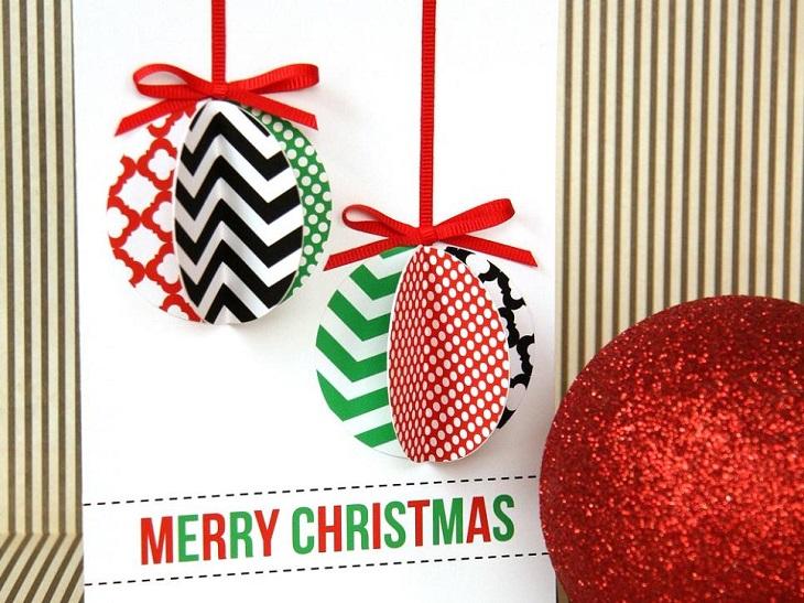 tarjetas navidad ornamentos bolas arbol coloridas ideas