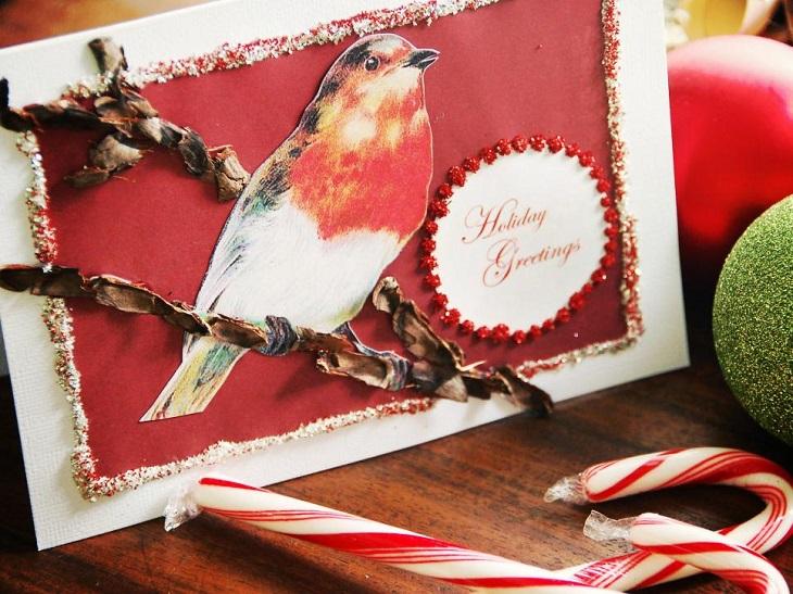tarjetas navidad pajaro original ramo ideas